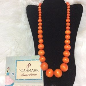 Paparazzi Necklace Orange Wooden Graduated Beads